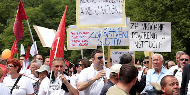 Manifestación del Primero de Mayo en Zagreb (Croacia)