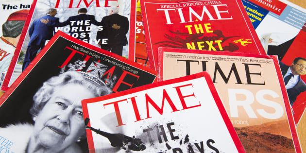 Popular Magazines in English language displayed, including Time and The Economist.