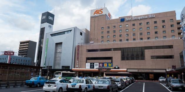 Akita, Japan - November 19, 2017: View of Hotel Metropolitan Akita from the train station.