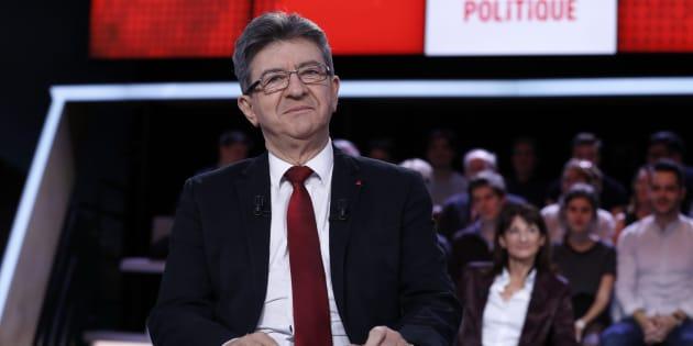 """Jean-Luc Mélenchon sur le plateau de """"L'Emission politique"""" en février 2017, pendant la campagne présidentielle."""