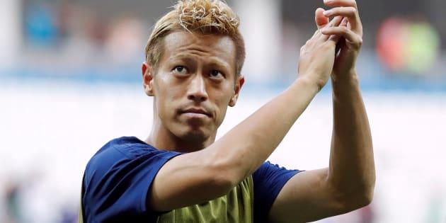 ワールドカップ・日本対ポーランド戦の本田圭佑選手=6月28日、ロシア・ボルゴグラード