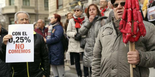 Manifestación de pensionistas en Bilbao, en febrero. EFE/Luis Tejido.