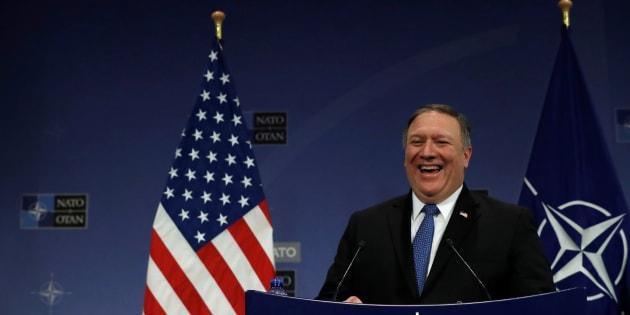 Mike Pompeo, nuevo secretario de Estado norteamericano, hoy en la sede de la OTAN en Bruselas.