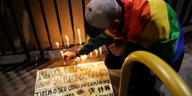 Homenagem em São Paulo a vítimas de tiroteio em boate gay em Orlando, nos Estados Unidos.