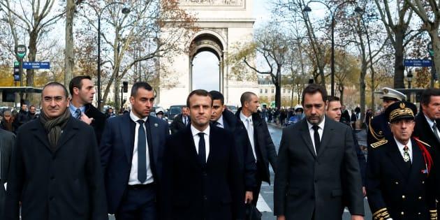 FEmmanuel Macron, Christophe Castaner, Laurent Nunez et Michel Delpuech le 2 décembre 2018.
