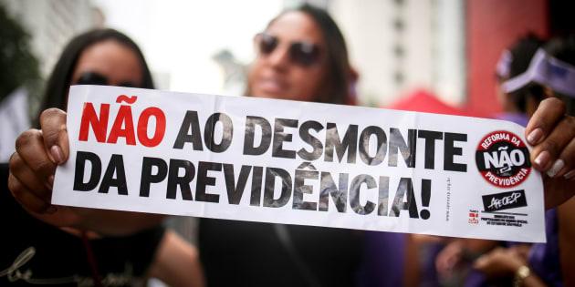 Em São Paulo, milhares protestaram em março contra reforma da Previdência.
