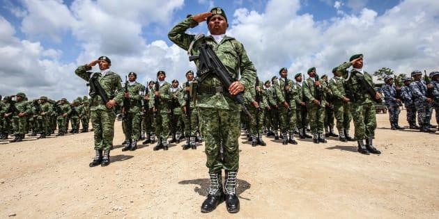 Salvador Cienfuegos Zepeda, titular de la Sedena, encabezó la inauguración de la primer etapa de la instalaciones que albergarán la Brigada de la Policía Militar, en Cancún, Quintana Roo, el 11 de julio de 2018.