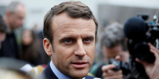 Emmanuel Macron à Bazainville le 18 avril 2017.