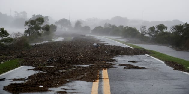 ST. AUGUSTINE, FL - OCTOBER 7: Trees along Interstate 95 bend in the wind as Hurricane Matthew hits in St. Augustine, FL on Friday October 07, 2016. Matthew was downgraded to a Category 3 hurricane overnight, and its storm center hung just offshore as it moved up the Florida coastline, sparing communities its full 120 mph winds. (Photo by Jabin Botsford/The Washington Post via Getty Images)