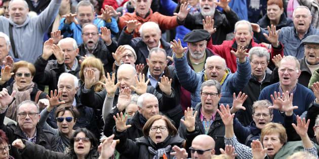 Imagen de la manifestación de pensionistas en Bilbao del pasado día 12 de marzo.