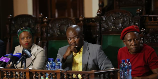The DA's Phumzile Van Damme, UDM's Bantu Holomisa and EFF's Julius Malema during a media briefing about the planned national day of action march as part of calls for President Jacob Zuma to step down on April 10, 2017 in Pretoria, South Africa.