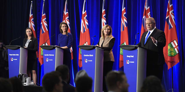 Ontario PC leadership candidate Doug Ford speaks as candidates Tanya Granic Allen, left, Caroline Mulroney and Christine Elliott participate in a debate in Ottawa on Feb. 28, 2018.