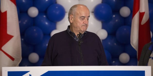 Former Conservative MP Julian Fantino speaks at his election night reception for in Vaughan on Oct. 19, 2015.