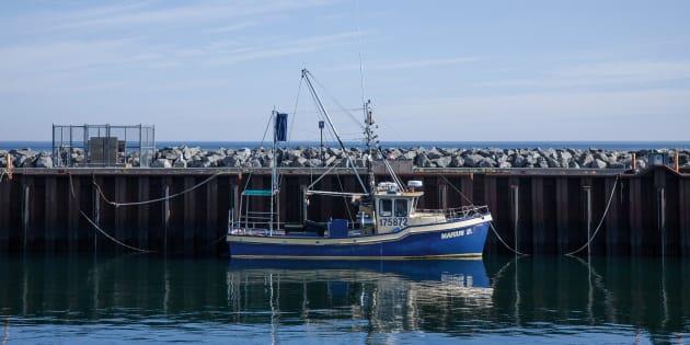 Un bateau de pêche dans le port de Rimouski.