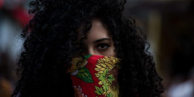 Manifestante en una de la marchas feministas contra el Gobierno de Michel Temer, en Brasil, durante el Día Internacional de la Mujer