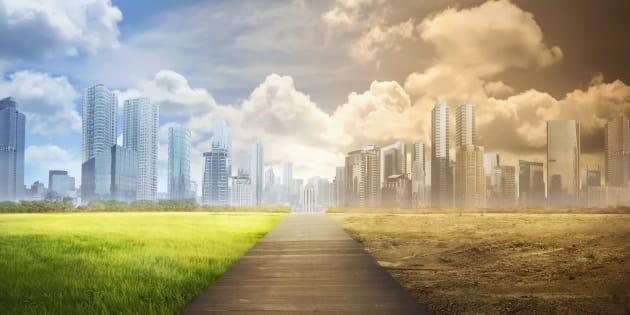 Representación del cambio climático en una ciudad.