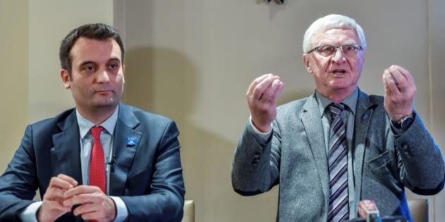 José Evrard en conférence de presse à Lens aux côtés de Florian Philippot.