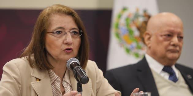 La subsecretaria de Comercio Exterior Luz María de la Mora (i), acompañada del director general del Consejo Empresarial Mexicano, Fernando Ruiz Huarte (d), en rueda de prensa, en Ciudad de México este 16 de enero de 2019.