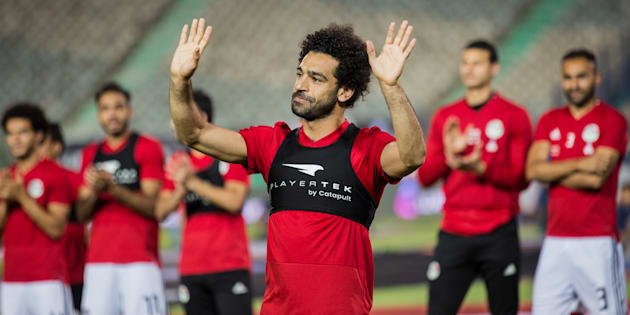 Egyptian striker Mohamed Salah at a training session in Cairo.