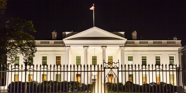 Presidential White House Fence Fountain Pennsylvania Ave Night Washington DC