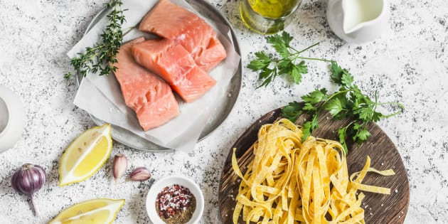 http 3a 2f 2fo aolcdn com 2fhss 2fstorage 2fmidas 2f65e29a6003b9db0a47fec21896693dc6 2f205447422 2fingredients for cooking lunch salmon pasta cream spices picture id595320730