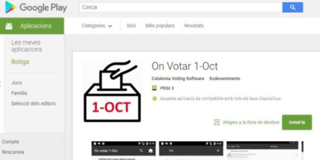 Captura de la app en Google Play, difundida por Carles Puigdemont.