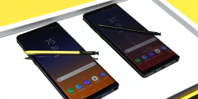 Le Galaxy Note 9 de Samsung présenté à New York le 9 août 2018.