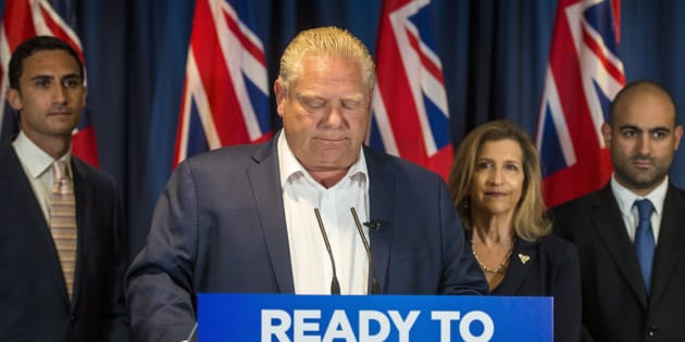 Ontario Progressive Conservative Leader Doug Ford listens to questions during an announcement in Toronto on June 5, 2018.
