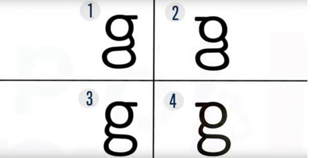 La mayoría de la gente no sabe escribir la letra g que aparece en los textos impresos y trazan figuras erróneas, según un estudio de la Universidad Johns Hopkins con 38 voluntarios. La correcta es la 3.