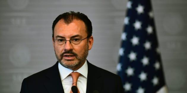 El secretario de Relaciones Exteriores, Luis Videgaray, habla durante una conferencia de prensa conjunta con la secretaria de Seguridad Nacional de EU, Kirstjen Nielsen, en Ciudad de México, el 26 de marzo de 2018.