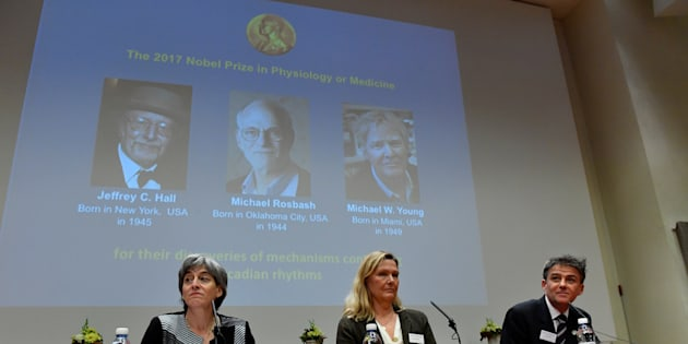 Juleen Zierath, Professor of Physiology, Anna Wedell, chairman Nobel Committee for Physiology or Medicine 2017, are seen during the announcement of the winners of the Nobel Prize in Physiology or Medicine 2017, in Stockholm, Sweden.