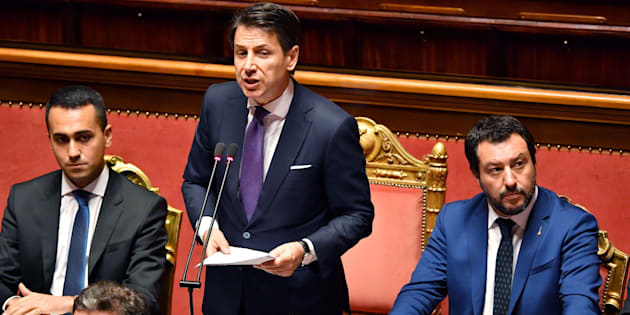 Luigi Di Maio, Giuseppe Conte et Matteo Salvini au Sénat à Rome le 5 juin 2018.