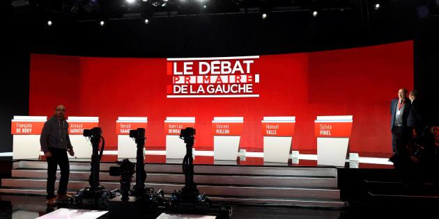 Le plateau du second débat de la primaire de la gauche / AFP