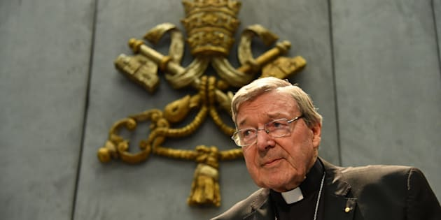 Australian Cardinal George Pell looks on as he makes a statement at the Holy See Press Office, Vatican city on June 29, 2017 after being charged with historical  sex offences in a case that has rocked the church. Cardinal Pell says on June 29 that he will return to Australia to face sex abuse charges. / AFP PHOTO / Alberto PIZZOLI        (Photo credit should read ALBERTO PIZZOLI/AFP/Getty Images)