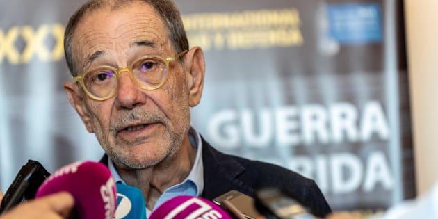El exsecretario general de la OTAN, Javier Solana, el pasado 20 de junio tras una conferencia en Toledo.