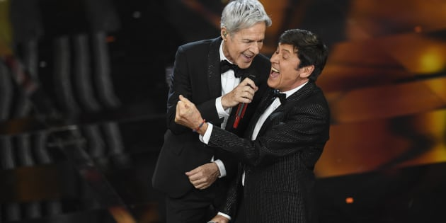 SANREMO, ITALY - FEBRUARY 06:  Claudio Baglioni and  Gianni Morandi attend the first night of the 68. Sanremo Music Festival on February 6, 2018 in Sanremo, Italy.  (Photo by Daniele Venturelli/Getty Images)