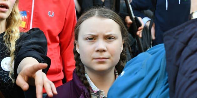 Greta Thunberg lors de la manifestation pour le climat à Paris le 22 février 2019.