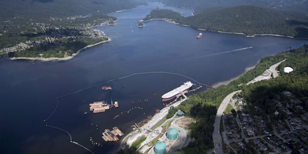 An aerial view of Kinder Morgan's Trans Mountain marine terminal, in Burnaby, B.C., is shown on May 29, 2018.