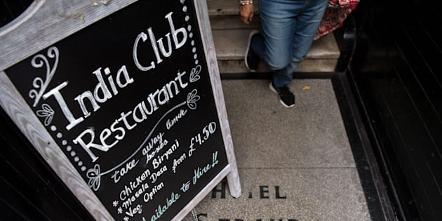 A blackboard stands at the entrance to the India Club restaurant in London on October 16, 2017. Plans to renovate a historic and beloved Indian restaurant in central London are causing a stir, pitting the developers against high profile defenders, including intellectuals, Anglo-Indian businessmen and lawmakers from both countries. / AFP PHOTO / CHRIS J RATCLIFFE        (Photo credit should read CHRIS J RATCLIFFE/AFP/Getty Images)