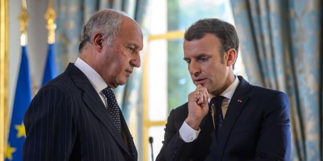 Emmanuel Macron et le président du Conseil constitutionnel Laurent Fabius.
