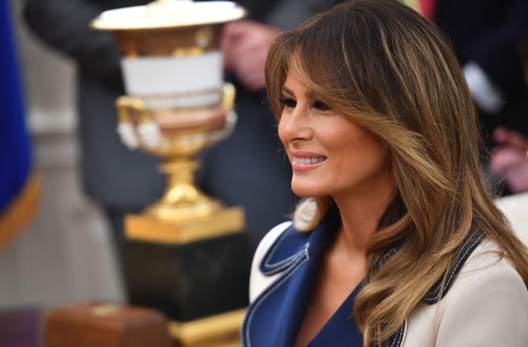 22e8880fb918 Melania Trump bundles up in $4000 Gucci coat to welcome Polish President  Andrzej Duda