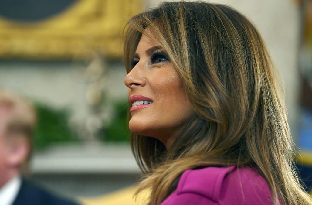 e0ab6cfea83d Melania Trump stuns in fuchsia to welcome South Korean president to the  White House