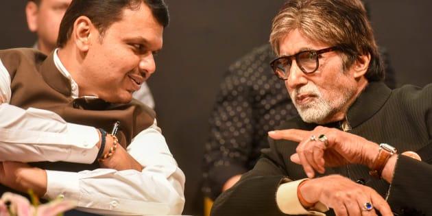 Bollywood actor Amitabh Bachchan and Chief Minister of Maharashtra Devendra Fadnavis.