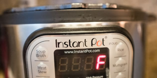 F is right. Close-up of an Instant Pot, a popular automatic pressure cooker that's attracted a cult following on social media. Some people, though, find it incredibly intimidating.
