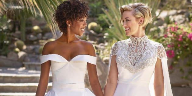 """Samira Wiley, Poussey Washington dans la série """"Orange Is The New Black, et Lauren Morelli, scénariste de ladite série, se sont mariés à Palm Springs, en Californie, ce samedi 25 mars 2017."""