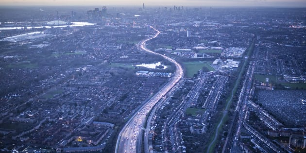 Aerial view of A13, Newham, East End, London, England