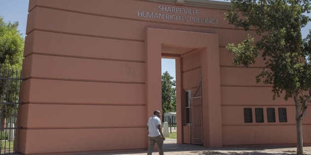 The Sharpeville Heritage Memorial in Vereeniging commemorates the 69 people killed on March 21, 1960 during clashes between anti-passbook demonstrators and apartheid police. The names of those killed are inscribed on plaques to the right.