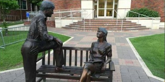 She was unmoved by his mansplanation, and not just because she's a statue.