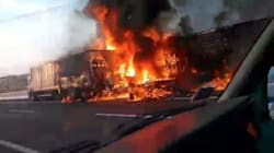 Un tir e un furgone si scontrano e prendono fuoco, morte due persone