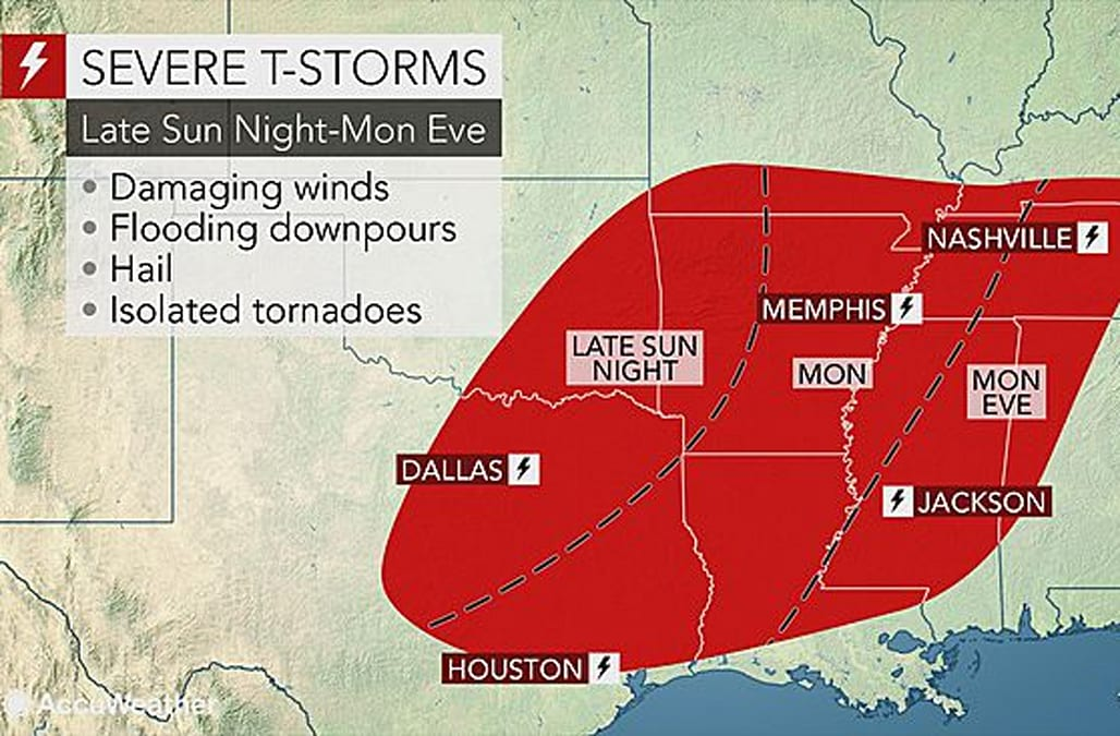 Severe storms bring risk for tornadoes, flooding to southern